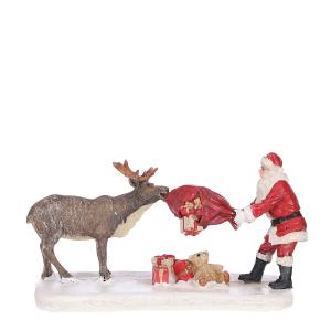 Figurine de Père Noël et renne - 12X7,5X 7 cm - Luville