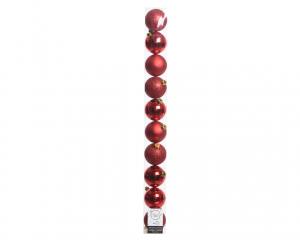 Tube de 10 boules en plastique - Rouge brillant, mat et pailleté - Ø 6 cm