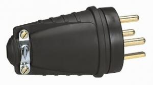 Fiche caoutchouc 3P+T 20A - Le Grand - A sortie droite avec anneau de suspension