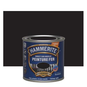 Peinture fer - Hammerite - Direct sur rouille - Mat noir foncé - 0.25 L