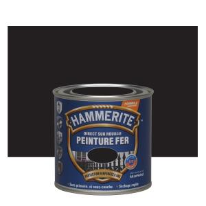 Peinture fer - Hammerite - Direct sur rouille - Martelé noir - 0.25 L