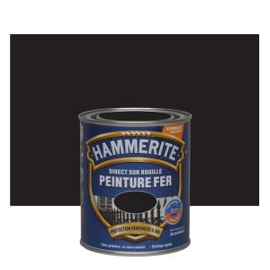 Peinture fer - Hammerite - Direct sur rouille - Satin noir - 0.75 L