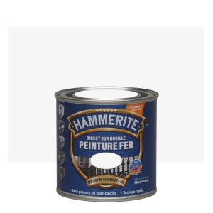 Peinture fer - Hammerite - Direct sur rouille - Martelé blanc brume - 0.25 L