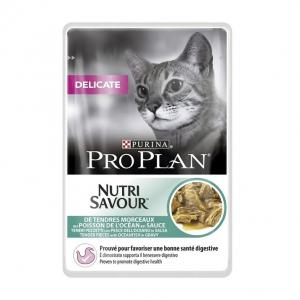 Effilés en sauce pour chat Delicat Nutrisav - Proplan - poisson - 85 gr