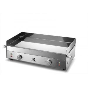 plancha elec.655x395mm - 2 x 1800 W - 230 V - châssis et plaque de cuisson inox- 2 thermostats réglables de 50 à 300°C