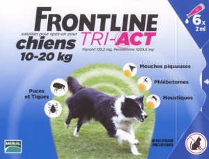 3 pipettes Frontline Tri-Act pour chien de 10 à 20 kg - Traitement antiparasitaire