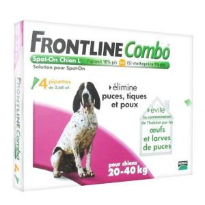 Frontline Combo x 4  pour chien 20 à 40 kg - Traitement anti-puces pour chien