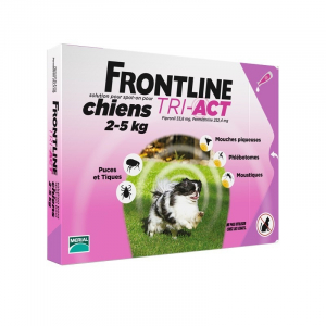 3 pipettes Frontline Tri-Act pour chien de 2 à 5 kg - Traitement antiparasitaire