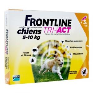 3 pipettes Frontline Tri-Act pour chien de 5 à 10 kg - Traitement antiparasitaire