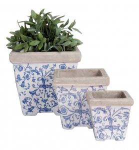 Pots carrés de fleurs en céramique patiné - Esschert Design - Lot de 3