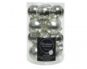 Boîte de 16 boules en verre Ø3,5cm col argent brillant et mat