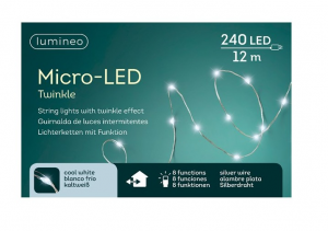 Guirlande Microled- 240 leds - 8 Fonctions -Blanc froid- 12 m - Câble argent