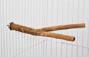 Perchoir double en bois canari ou perruche - 25 cm