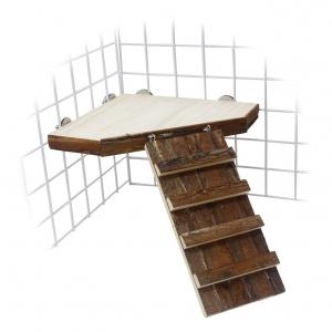 Plateforme d'angle en bois avec rampe d'accès pour cochons d'Inde - Rongis