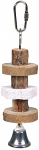 Jouet pour oiseau - Natural linving - Trixie - Bois à macher et pierre de lave - 16 cm