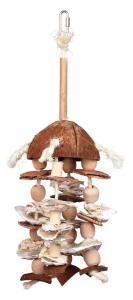 Jouet naturel en corde de sisal - Trixie - Avec noix de coco, bambou et coquille d'huitre
