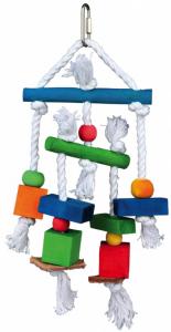 Jouet en bois sur corde avec cuir - Trixie - 24 cm