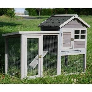 Cage lapin clapier en bois imputrescible avec toit en shingle ''tuilé'' comprenant une partie ''maison',