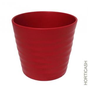 Cache pot Wave - Horticash - rouge mat - 17 cm