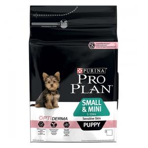 Croquette pour chiens Small & mini puppy sensitive skin Optiderma - Proplan - saumon - 3 kg