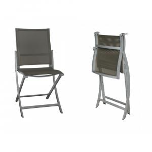 Chaise pliante Teaser/Val - Gris espace- Ardoise