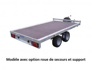 Remorque plateau - Lider - Réf. 34620 - Roues dessous - 3 m - 2500 Kg - 2 essieux