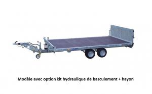 Remorque plateau - Lider - Réf. 33655L - Roues dessous - Timon Alko - 4 m - 2500 kg - 2 essieux