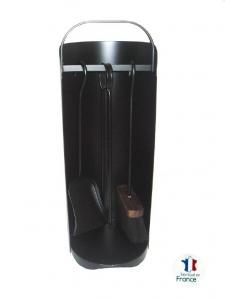 Serviteur de cheminée - Modèle Chaudron - Acier verni noir - 3 accessoires