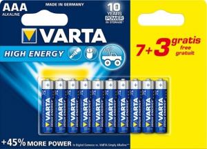 Piles High Energy LR03 - AAA - Varta - 7 + 3 gratuites