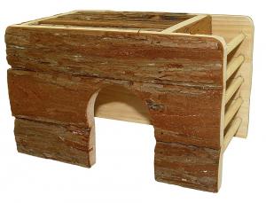 Maison en bois avec râtelier pour gerbille et cochon d'Inde - Rongis