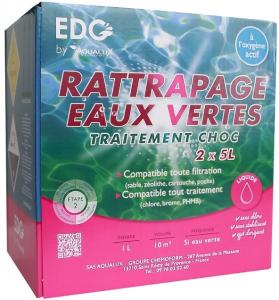 Utilisez un chlore choc en pastilles ou en granulés. Mettez le bon dosage dans les skimmers (en fonction du volume de votre piscine et de l'état de l'eau) Attendre 1 heure Vérifiez que vous avez au minimum 1 mg/l de chlore dans la piscine Puis utilisez un