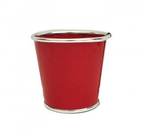 Cache pot en zinc - Horticash - rouge - Ø 16.7 cm