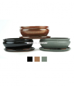 Pot Basic ovale et soucoupe en grès pour bonsaï - 25 cm