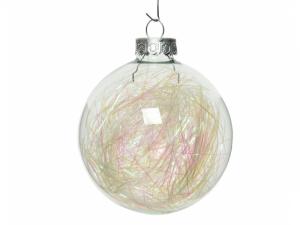 Boules de Noël - Verre fils irisés - Bla nc - 4 boules - Ø 7 cm