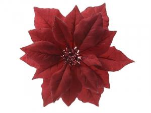 Poinsettia en tissu à clip - Rouge pailleté - 24 cm
