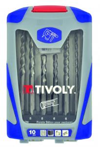 Mallette 10 pièces SDS Plus - Tivoly - Forets