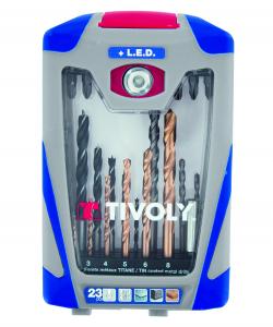 Mallette 23 pièces LED Mixte - Tivoly - Forets et embouts