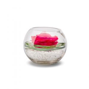 Rose stabilisée dans verrerie Venezia - Diamètre 13 cm