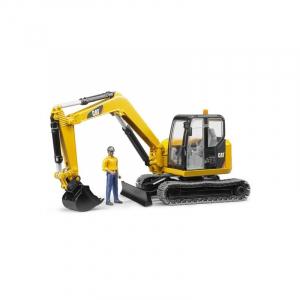 Mini pelleteuse Caterpillar et figurine de chantier - Bruder - 116