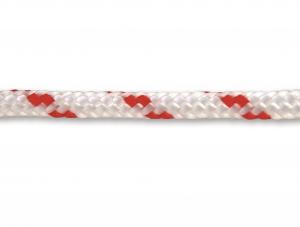 Corde polypropylène tressée - Ø 6 mm - Blanc-Rouge - Vente au mètre linéaire