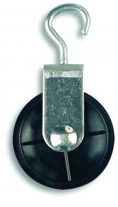Poulie à crochet - Acier zingué - 10 kg - Ø galet 40 mm - Pour corde Ø 6 mm