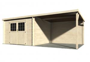 Abri de jardin en bois + appenti - 28 mm - Prêt à traiter - Eden - 15,78 m² - 2,98 x 6,05 m