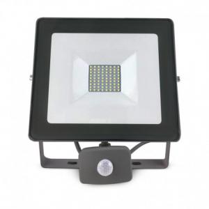 Projecteur extérieur LED plat gris avec  détecteur - 50 W - 4400 lumens
