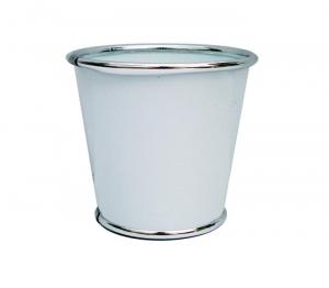 Cache pot en zinc - Horticash - blanc - Ø 11 cm