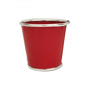Cache pot en zinc - Horticash - rouge - Ø 11 cm