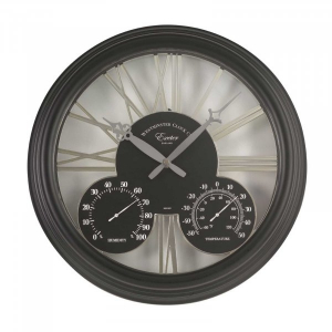 Horloge & thermomètre Exeter - Smart Garden Products - Noir - 38 cm