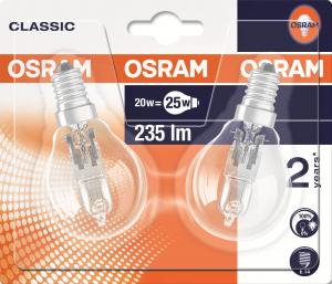 Lot de 2 ampoules halogène de forme sphérique - Osram - 20 W - E14