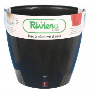 Pot de fleurs Eva New rond - Riviera System - Noir - Ø 35 x 33 cm