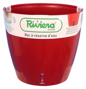 Pot de fleurs Eva New rond - Riviera System - Rouge - Ø 25.5 x 23 cm