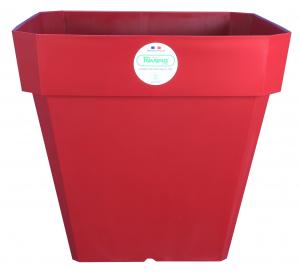Pot de fleurs Soleilla carré - Riviera System - Rouge - 29.5 x 29.5 x 26.5 cm